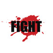 Fight - vector stylized font with japanese red ink stamp - hanko, and blood spot on white background . Hand drawn sport calligraphy logo, icon, sign