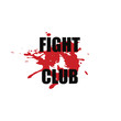 Fight club - vector stylized font with japanese red ink stamp - hanko, and blood spot on white background . Hand drawn sport calligraphy logo, icon, sign