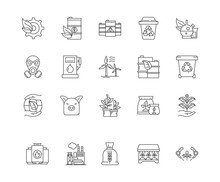 Commodity Brokers Line Icons, ...