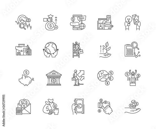 Pinturas sobre lienzo  Commodity broker line icons, linear signs, vector set, outline concept illustrat