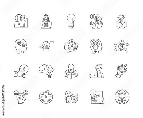 Slika na platnu Concentration line icons, linear signs, vector set, outline concept illustration