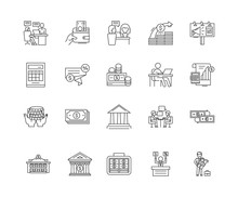 Credit Line Icons, Linear Sign...