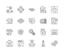 Engines And Turbines Line Icons, Linear Signs, Vector Set, Outline Concept Illustration