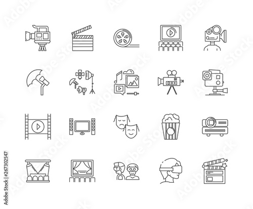 Photo  Filming line icons, linear signs, vector set, outline concept illustration