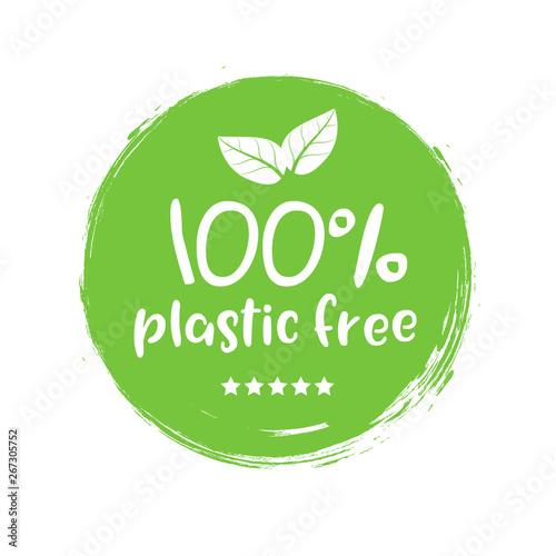 Fototapeta Plastic free green icon badge. Bpa plastic free chemical mark zero or 100 percent clean obraz
