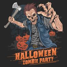 Zombie Halloween Party Pumpkin Element Vector