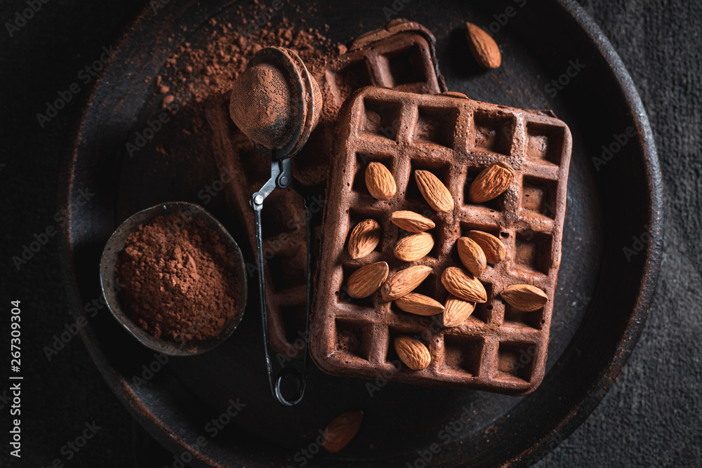 Fototapety, obrazy: Homemade waffles made of cocoa with almonds