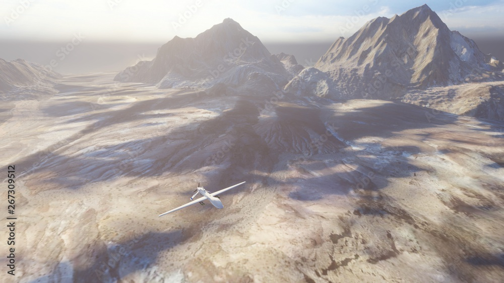 Fototapeta A military drone flies over a deserted plain on a Sunny day. 3D Rendering