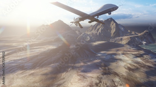 Photo  A military drone flies over a deserted plain on a Sunny day