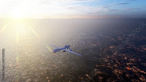 Photo  Military drone flies over the ocean at sunrise