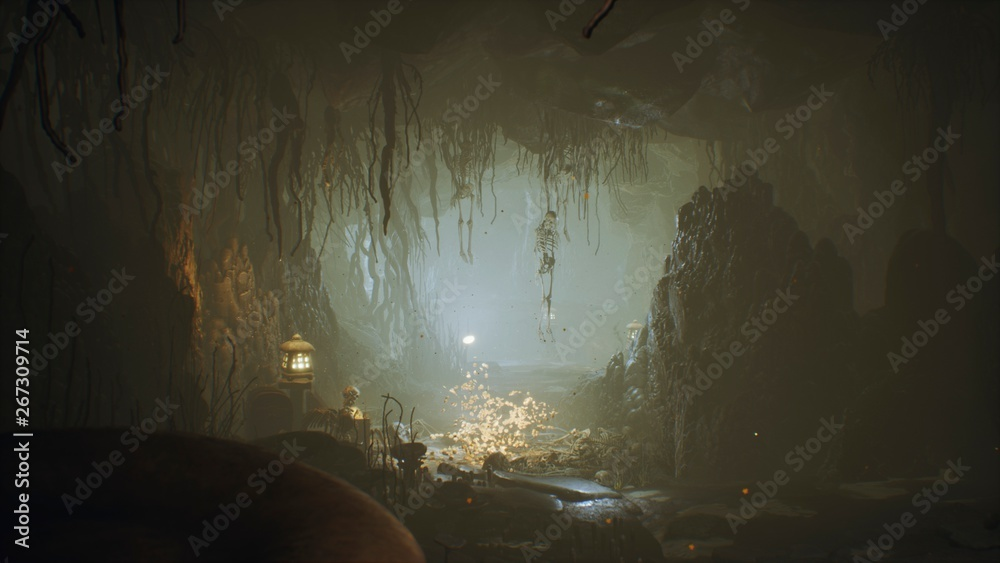 Fototapeta Ancient huge fantasy cave filled with ancient mushrooms and magical fog with dust. 3D Rendering