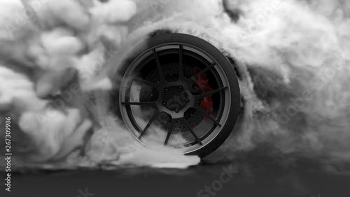 Tire Burnout. Burning rubber and Smoking tire with a rotating wheel with thick Smoke on dark background. 3D Rendering