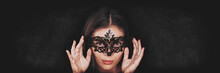Night Seduction Sexy Woman Wearing Eye Mask Hiding Identity In Carnival Nightlife Club Party. Panoramic Banner, Asian Beauty Girl Face On Header Background.