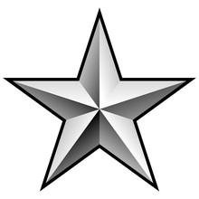 Brilliant Silver Chrome Star Vector Illustration