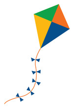 Kite With Bows, Vector Or Color Illustration
