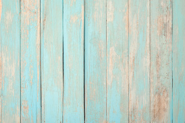 Vintage beach wood background - Old weathered wooden plank painted in turquoise blue pastel color.
