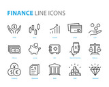 set of finance icons, such as currency, money, coin, statement, balance, safe, bank