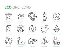 Set Of Eco Plastic Icons, Such As Reuse, Recycle, Nature, Green Energy, Zero Waste