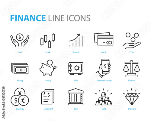 Fototapeta set of finance icons, such as currency, money, coin, statement, balance, safe, bank obraz