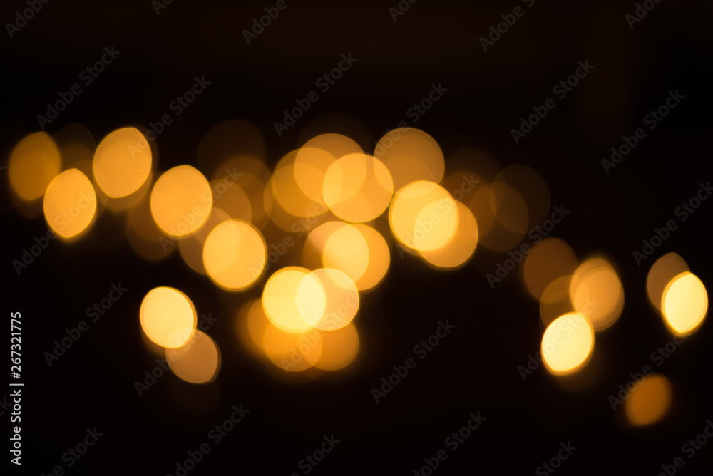 Fototapety, obrazy: abstract gold bokeh light effect with dark background