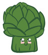 Image of cute artichoke, vector or color illustration.