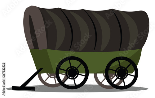 Fényképezés Image of covered wagon, vector or color illustration.