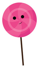 Pink Color Lollipop With Smiley With Black Stick, Vector Or Color Illustration.
