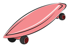 Skateboard For Girls, Vector Or Color Illustration.