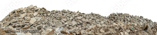 Stampa su Tela Ruined rubble isolated on white background have clipping path