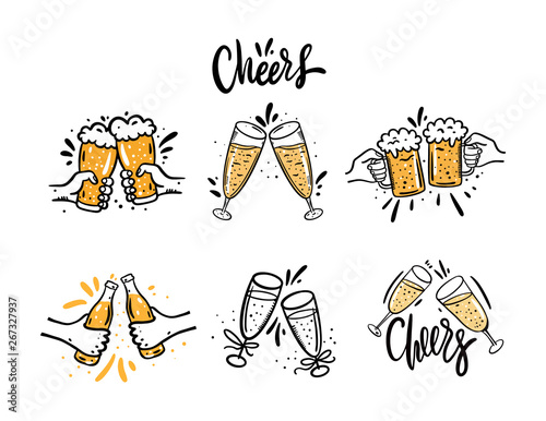 Cheers with beer glasses Wallpaper Mural