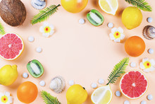 Summer Tropical Fruits Frame On Coral Color Background