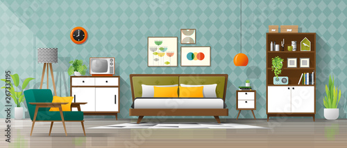 Vintage interior background with mid century modern bedroom ...