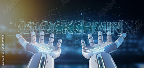Fototapety, obrazy: Cyborg hand holding a Blockchain title 3d rendering