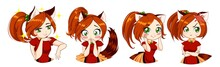 Cute Anime Neko Girl With Red Hair And Green Eyes. Cat Foxy Ears And Tail. Different Funny Emotions Set.