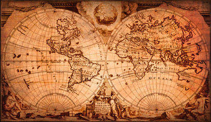 Very old world map, decorat...