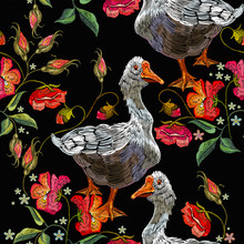 Embroidery Goose, Berry And Red Poppies Flowers Seamless Pattern. Template For Clothes