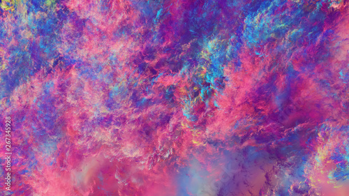 Tuinposter Roze Abstract fantastic blue and crimson clouds. Colorful fractal background. Digital art. 3d rendering.