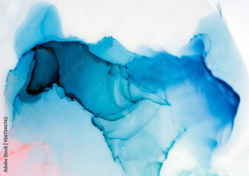 Fototapety, obrazy: Alcohol ink sea texture. Contemporary art. Spots of oil paint. Abstract art background. Multicolored bright texture. Fragment of artwork. Modern art. Inspired by the sky, as well as steam and smoke.