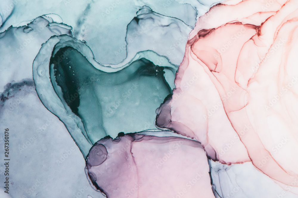 Alcohol ink sea texture. Contemporary art. Spots of oil paint. Abstract art background. Multicolored bright texture. Fragment of artwork. Modern art. Inspired by the sky, as well as steam and smoke.