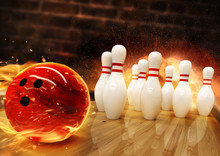 Bowling Hit With Fire Ball Rolling On The Floor