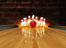 Bowling Strike Hit With Fire Explosion