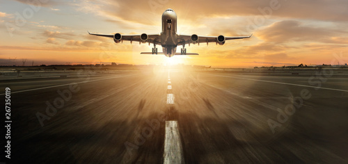 Garden Poster Airplane Huge two storeys commercial jetliner taking off