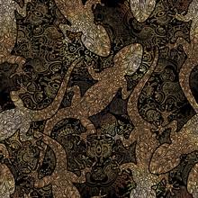Seamless Pattern Lizard Golden Gecko