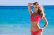 Leinwandbild Motiv Pretty girl at the beach
