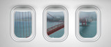 San Francisco Golden Gate Bridge as seen from three airplane windows. Holiday, vacation and travel concept - 267354902