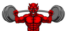 A Devil Satan Weight Lifter Body Builder Sports Mascot Lifting A Big Barbell