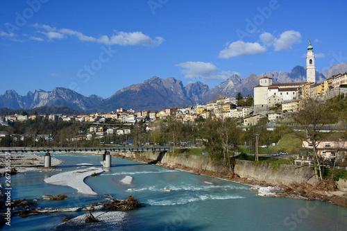Fototapeta  The Piave river sacred to the Italian homeland, passes through the city of Bellu