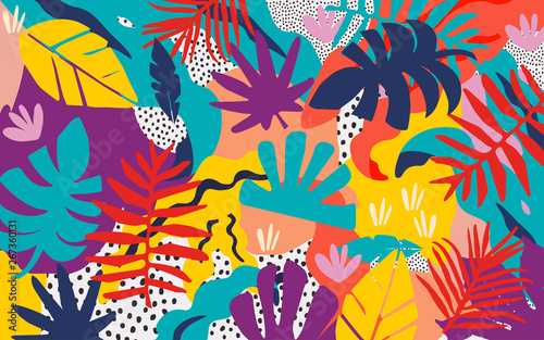Tropical jungle leaves and flowers background. Colorful tropical poster design. Exotic leaves, flowers, plants and branches art print. Botanical pattern, wallpaper, fabric vector illustration design - fototapety na wymiar