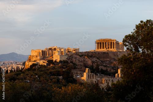 Poster Athens Panoramic view of the Acropolis of Athens during sunset as seen from a lookout on Filopappou Hill (Athens, Greece, Europe)
