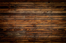 Wooden Floor Closeup View. Vintage Brown Wood Wall Texture With Vignette